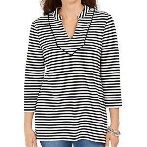 Charter Club Striped ¾ Sleeve Top